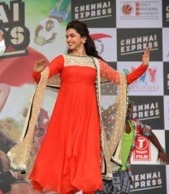 Deepika Padukone Orange Anarkali Suit At Chennai Express Promotes - giftadi | Gifting Zone | Scoop.it