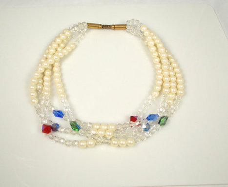 Vintage Four Strand Faux Pearl Crystal Necklace | Vintage Jewelry | Scoop.it