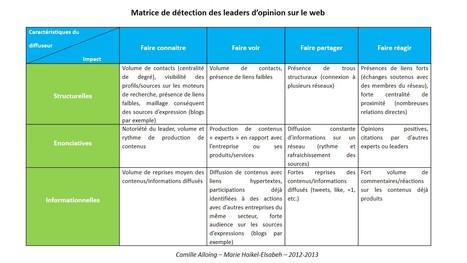 Comment identifier des leaders d'opinion sur le web ? Proposition d'une matrice | E-Réputation des marques et des personnes : mode d'emploi | Scoop.it