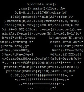 A piece of code shaped like a donut renders a spinning donut in... | ASCII Art | Scoop.it
