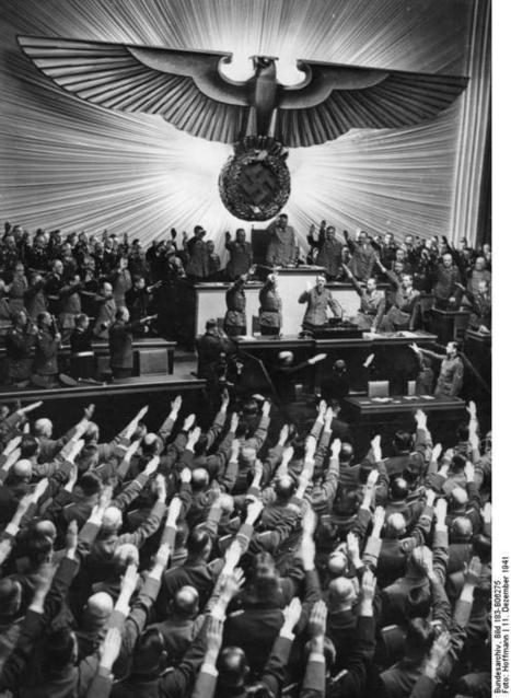 [Photo] Adolf Hitler receiving salutes from the German Reichstag upon declaring war on the United States, Berlin, Germany, 11 Dec 1941 | World War II Database | United States History | Scoop.it