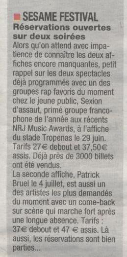 Sésame Festival : places toujours en vente pour Sexion d'assaut et pour Patrick Bruel ! | Montélimar Agglo Festival 2014 | Scoop.it
