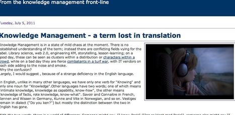Knoco stories: Knowledge Management - a term lost in translation   Computer Ethics and Information Security   Scoop.it