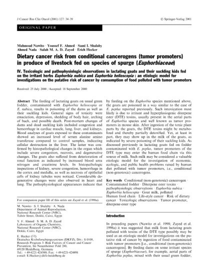Journal of Cancer Research and Clinical Oncology, Volume 127, Number 1 - SpringerLink | Euphorbia's chemistry and perspectives | Scoop.it