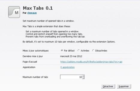 Max Tabs: Un add-on pour limiter le nombre d'onglets à ouvrir sur Firefox | Time to Learn | Scoop.it