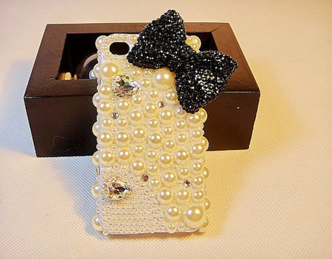 iPhone 4S case- iphone 4 case-iphone 5 case Girly Black Bow Popular Pearl Crystal Cover Skin | bling iphone case | Scoop.it