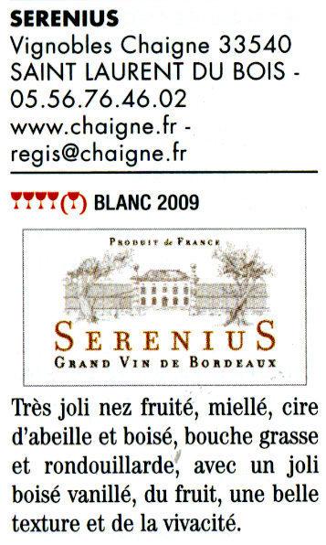 Guide Hubert 2011 - Serenius Bordeaux blanc 2009 - Cuvée spéciale | Nombrilisme | Scoop.it