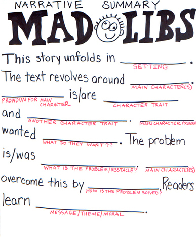 Narrative Summary Mad Libs | On the Web with Roz Linder | Common Core Made Easy | Scoop.it