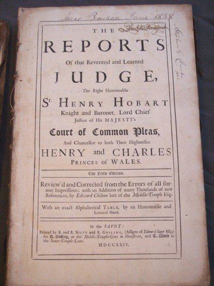 1724 REPORTS JUDGE SR. HENRY HOBART court of common pleas law book 1.00 no reserve (Auction ID: 230576, End Time : Oct. 19, 2012 23:30:00) - MYNOTERA ONLINE AUCTION | Antiquarian Books | Scoop.it