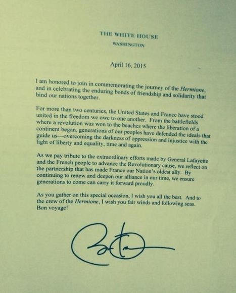 Obama à l'Hermione : «Bon voyage !» | Think outside the Box | Scoop.it