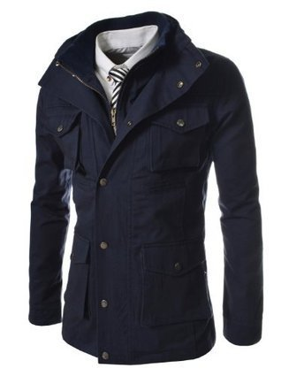 &&&   TheLees Mens Vintage style Turtle Neck String Safari Jacket NAVY X-Large(US Large) TheLees Navy | Discount Sports Coats | Scoop.it