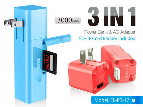 iFans EL-PB-17 is a 3-in-1 USB Wall Charger with a Battery and an SD Card Slot | Embedded Systems News | Scoop.it