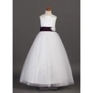 [US$ 109.99] A-Line/Princess Scoop Neck Floor-Length Satin Tulle Flower Girl Dress With Sash Flower(s) (010002142)   wedding time   Scoop.it