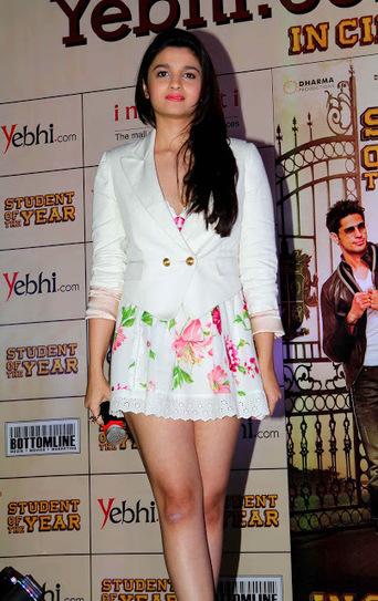 Alia Bhatt in White Mini Short Skirt during promotion of her Debut Movie | Fashion Divas | Scoop.it