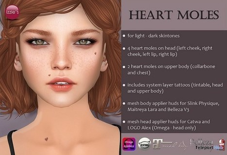 Heart Moles With Appliers Gift by Izzie's | Teleport Hub - Second Life Freebies | Second Life Freebies | Scoop.it