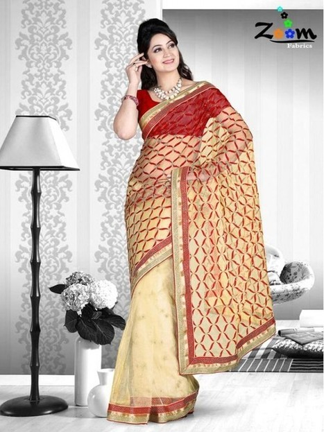 Zoom Beige Embroidered Saree | things to like | Scoop.it