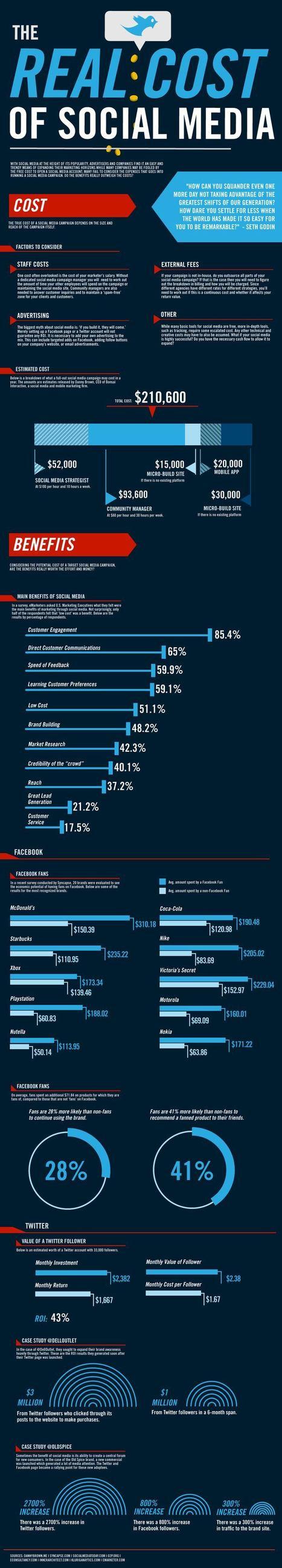 [infographie] le vrai coût des médias sociaux | Blog du modérateur | Social Media Curation par Mon Habitat Web | Scoop.it