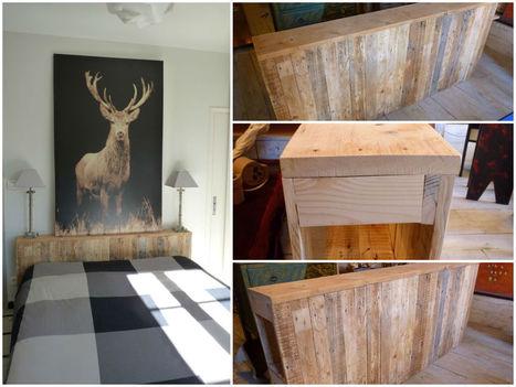T te de lit en bois de palette pallet w - Palette bois tete de lit ...