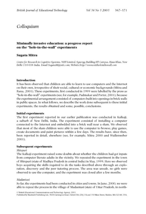 "Minimally invasive education: a progress report on the ""hole-in-the-wall"" experiments - Mitra - 2003 - British Journal of Educational Technology - Wiley Online Library 