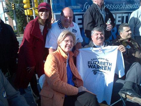 photo: Elizabeth Warren, Rich Trumka and Angela Cristiani at Rally and Labor Walk in Malden | Massachusetts Senate Race 2012 | Scoop.it