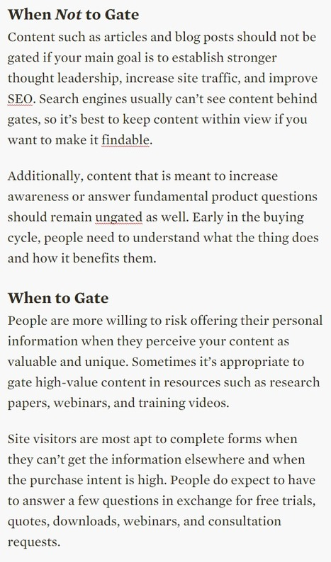 When to Hide Content Behind Forms and When to Give Content Away - Nielsen Norman Group | Content Creation, Curation, Management | Scoop.it