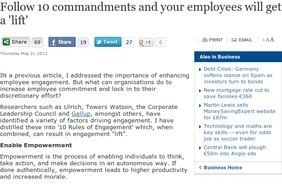 Follow 10 commandments and your employees will get a lift - Business - Independent.ie | Facilitating Employee Engagement | Scoop.it