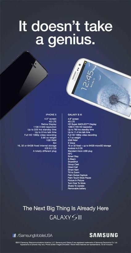 Samsung dénigre l'iPhone 5 dans une publicité comparative | Droit eco | Scoop.it