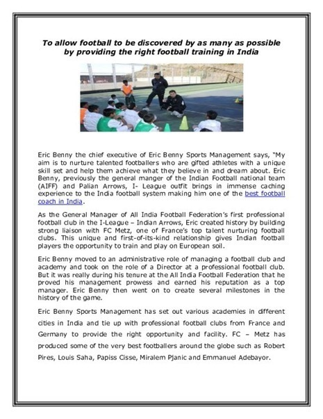 Awareness of Football by Providing Right Football Training in India - PDF | Eric Benny | Scoop.it