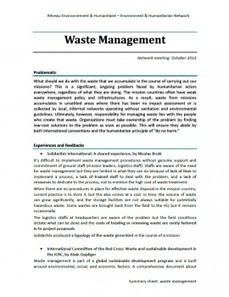 Humanitarian waste management in emergency and medium-term operations | Green humanitarian | Scoop.it