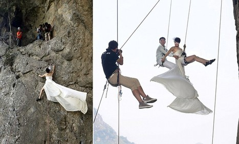 Newlyweds in China pose for wedding pictures while dangling hundreds of feet ... - Daily Mail | rock climbing gear | Scoop.it