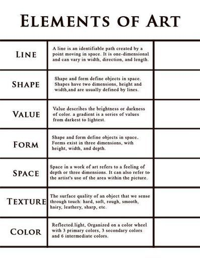 8 Elements Of Art : Elements of art worksheet