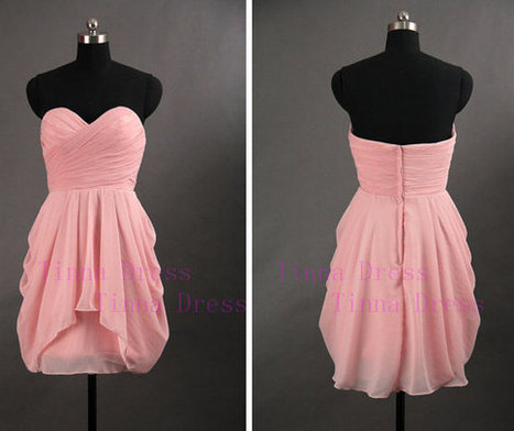 Hot sale cheap pink short bridesmaid dresses, strapless short prom dress, party / cocktail dress | bridesmaid dresses | Scoop.it