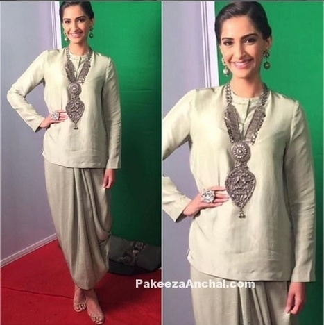 Sonam Kapoor in Long Top and Wrapped Skirt by Anamika Khanna | Indian Fashion Updates | Scoop.it