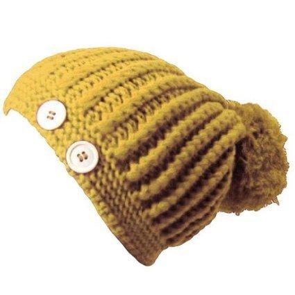 Yellow giant Pom Pom Knit Beanie Cap Hat W/ Button Trim - Skullies Beanies Hats Trend Fashion   Hat Shop   Scoop.it