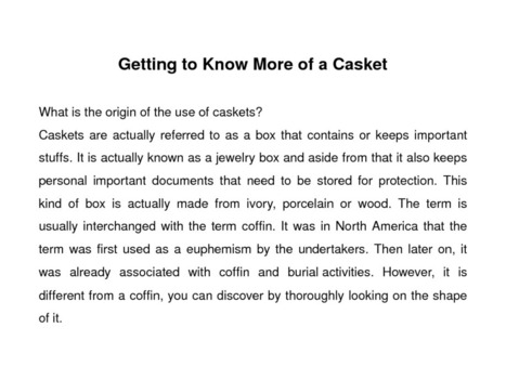 Getting to Know More of a Casket | edocr | My Readings | Scoop.it