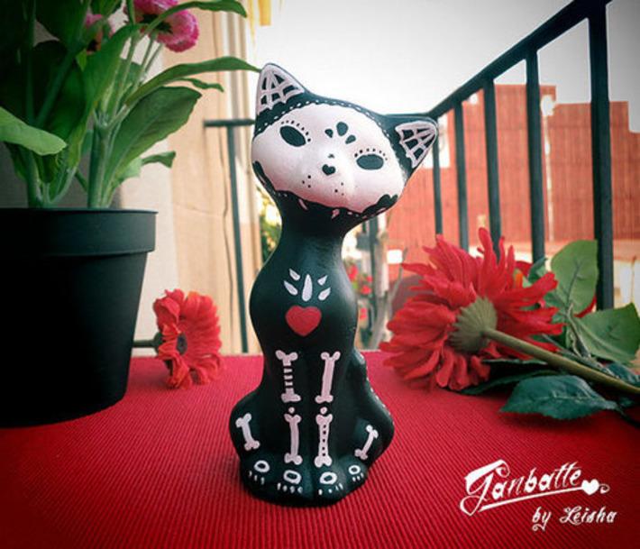 Figure Black Cat Sculpture Painted Handmade Unique - BOY Cat - Kitty Calaca Day of the Dead - Dia de los muertos - Halloween cat Sugar Skull | Kitsch | Scoop.it