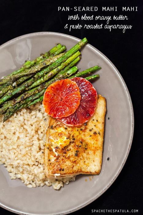 #HealthyRecipe // Pan-Seared Mahi Mahi with Blood Orange Butter & Pesto Roasted Asparagus | lovemefood | Scoop.it