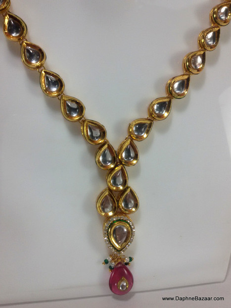 Indian Kundan Jewelry - Traditional Kundan Necklace Set with Pink Shade Stones | Ruby AD Pendant and Earrings | Scoop.it