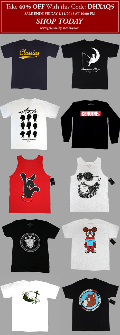 Take 40% OFF At Clothing Brand Genuine By Anthony | Genuine by Anthony | streetwear | Scoop.it