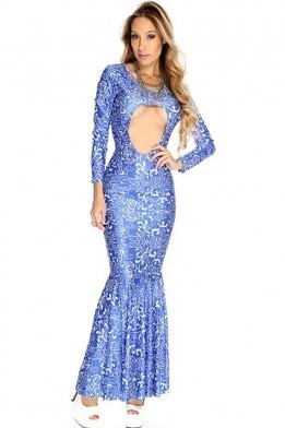 Royal Blue White Printed Sexy Maxi Dress   The Season's Hottest Styles from Pink Basis   Scoop.it