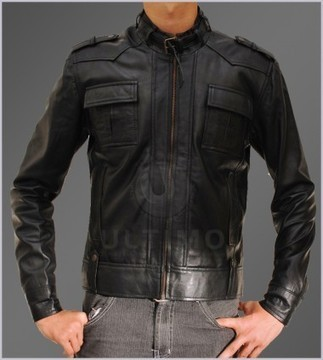Button Pocket Slim Fit Mens Rider Black Bomber Leather Jacket   You like leather jackets since nobody ignored it   Scoop.it