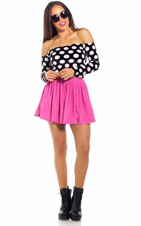 Summer clothes » Lollipop skirt in hot pink & Spotted top in black white – perfect summer outift   Summer clothes   Scoop.it