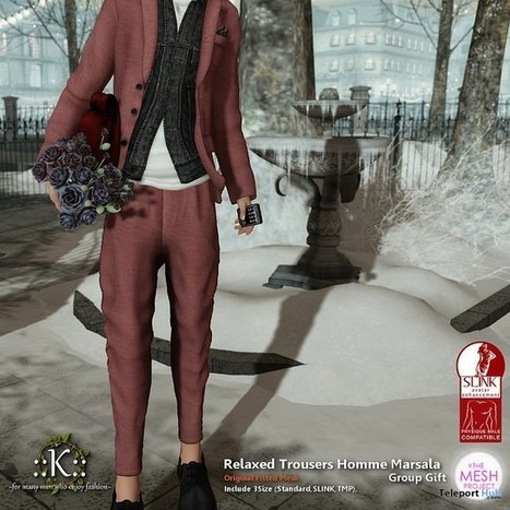 Relaxed Trousers Homme Marsala Group Gift by K | Teleport Hub - Second Life Freebies | Second Life Freebies | Scoop.it