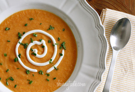 Skinny Yet Creamy Carrot Ginger Soup | Skinnytaste | Recipes: Make.it Taste.it Share.it | Scoop.it