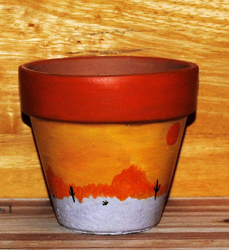 Southwestern Desert Sunset Scene Sun Red Sky Cactus Flower Pot Hand Painted on 4.5 Inch Terra Cotta Red Clay Pot Made to Order | Antiques n' Oldies | Scoop.it