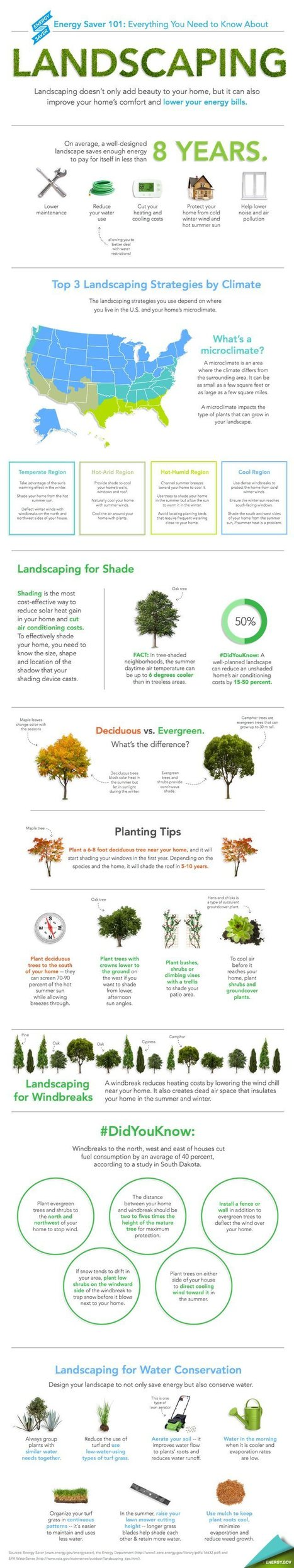 Smart Landscaping Tips To Help You Save Energy (INFOGRAPHIC) | green infographics | Scoop.it