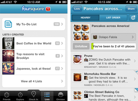 Toutes vos listes Foursquare, maintenant dans votre application mobile. | toute l'info sur Foursquare | Scoop.it