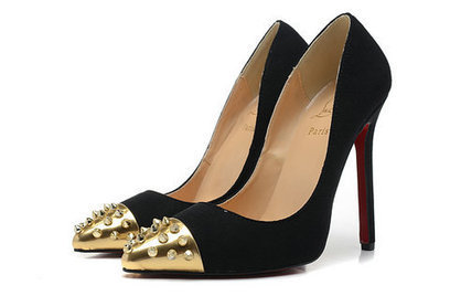 Geo Christian Louboutin Pumps Red Sole Black Suede Gold Spiked Toe [geo-pump-005] - $130.00 : Hello Kitty Bags For Ladies, Anteprima Bags Style Stereo Hello Kitty bags , my melody bags ,rhinestone ... | christian louboutin pumps fashion | Scoop.it