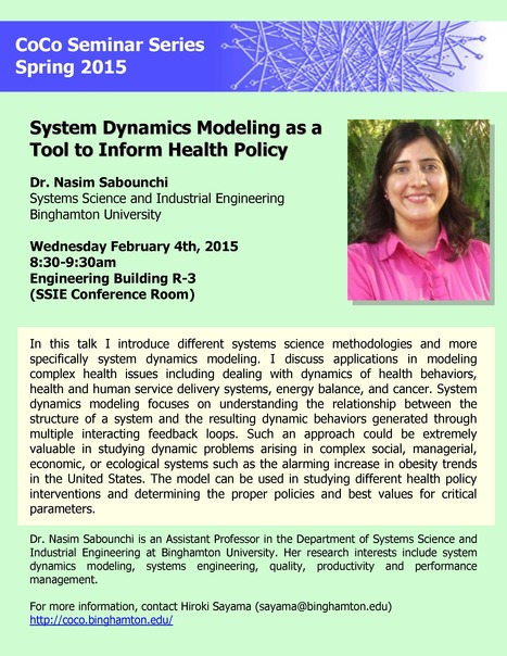 "CoCo Seminar on Wed Feb 4th: ""System Dynamics Modeling as a Tool to Inform Health Policy"" by Nasim Sabounchi 