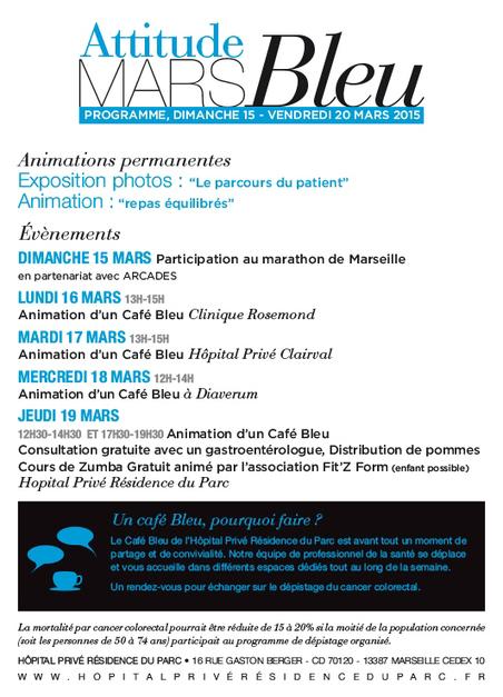 Mars Bleu - l'Institut de Cancerologie Marseille Provence se mobilise contre le cancer colorectal du 15 au 20 mars 2015   Cancérologie et soins de support   Scoop.it